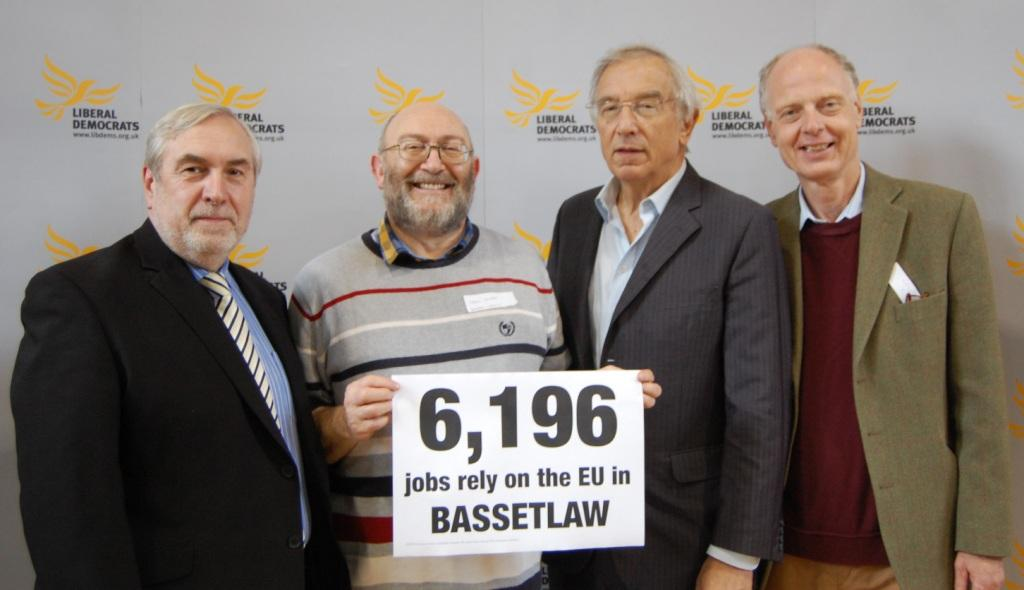 Local Bassetlaw Lib Dem campaigner Leon Duveen with East Midlands Lib Dem Euro candidates.   From left to right:  Phil Knowles, Leon Duveen, Bill Newton Dunn MEP & George Smid.