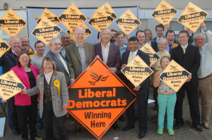 Candidates Deborah Newton-Cook, Phil Knowles, George Smid, Bill Newton Dunn and Issan Ghazni with Liberal Democrats at the launch of the East Midlands European Campaign